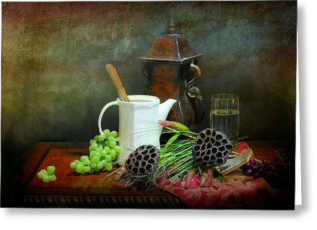 Still Life With Pitcher Greeting Cards - The White Spout Greeting Card by Diana Angstadt