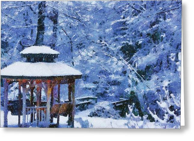 Snow-covered Landscape Digital Art Greeting Cards - The White Stuff Greeting Card by Barry Jones