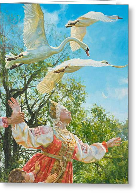 Swans... Greeting Cards - The white swan Greeting Card by Victoria Kharchenko