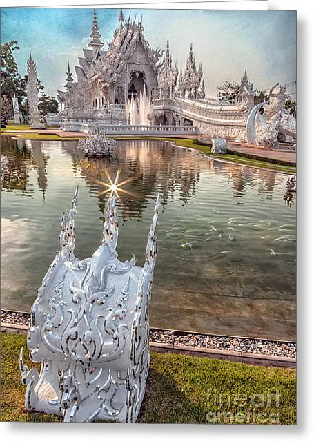 The White Temple Greeting Card by Adrian Evans