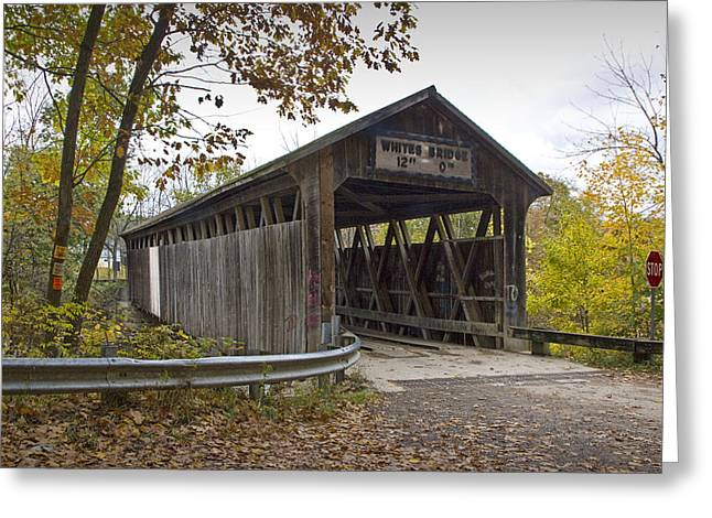 Old Roadway Greeting Cards - The Whites Covered Bridge on the Flat River near Lowell in Michigan Greeting Card by Randall Nyhof