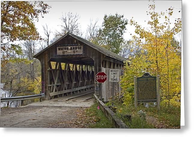 The Whites Covered Bridge Was One Of The Last Of Its Kind In Michigan Greeting Card by Randall Nyhof