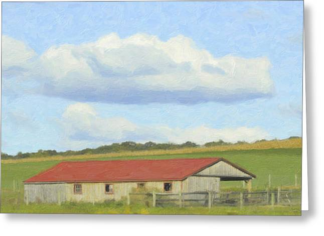 Field. Cloud Mixed Media Greeting Cards - The Whole Farm To Himself Greeting Card by Trish Tritz