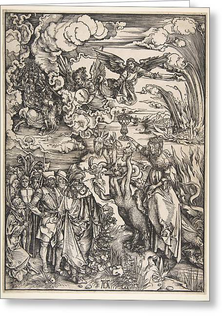 The Whore Of Babylon From The Apocalypse Greeting Card by Albrecht Duerer