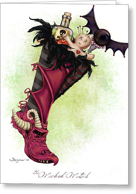The Wicked Witch Stocking Greeting Card by Steel Goddess