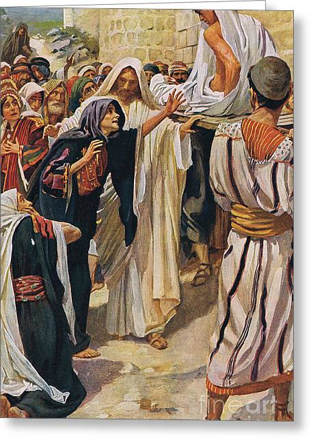 The Widow Of Nain Greeting Card by Harold Copping