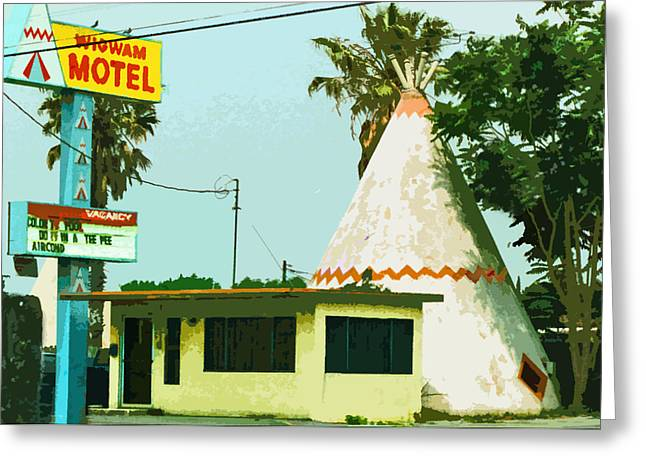 Route 66 Motel Sign Greeting Cards - The Wigwam Motel Greeting Card by Charlette Miller