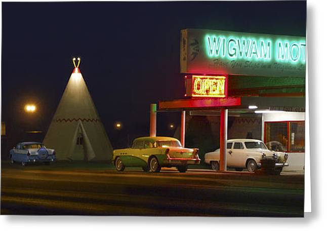 Night Scenes Greeting Cards - THE WIGWAM MOTEL ON ROUTE 66 Panoramic Greeting Card by Mike McGlothlen