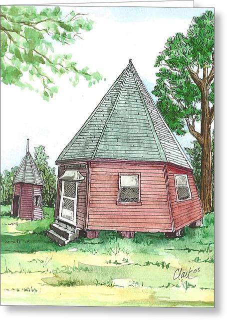 Wooden Building Drawings Greeting Cards - The Wigwam Greeting Card by Roger Clark Artist