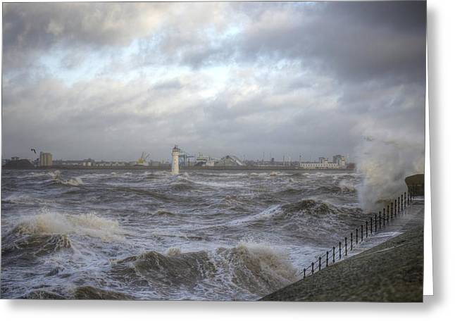 Turbulent Skies Greeting Cards - The wild Mersey Greeting Card by Karen Lawrence  SMPhotography