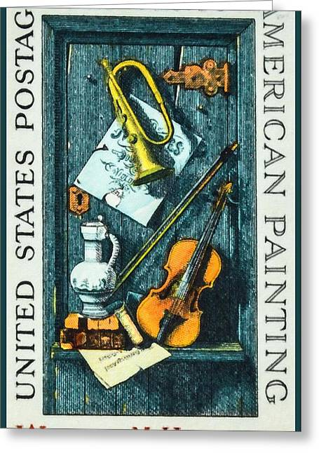 Old Pitcher Paintings Greeting Cards - The William M.Harnett stamp Greeting Card by Lanjee Chee