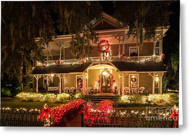 Beach At Night Greeting Cards - The Williams House at Christmas Amelia Island Florida Greeting Card by Dawna  Moore Photography