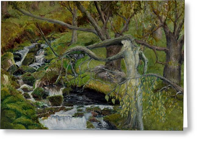 Hair-washing Paintings Greeting Cards - The Willow Woman Washing her Hair Greeting Card by Kathryn Bell