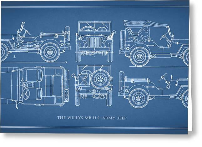 Jeep Greeting Cards - The Willys Jeep Greeting Card by Mark Rogan