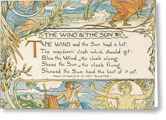 Fabled Drawings Greeting Cards - The Wind and the Sun Greeting Card by Pg Reproductions