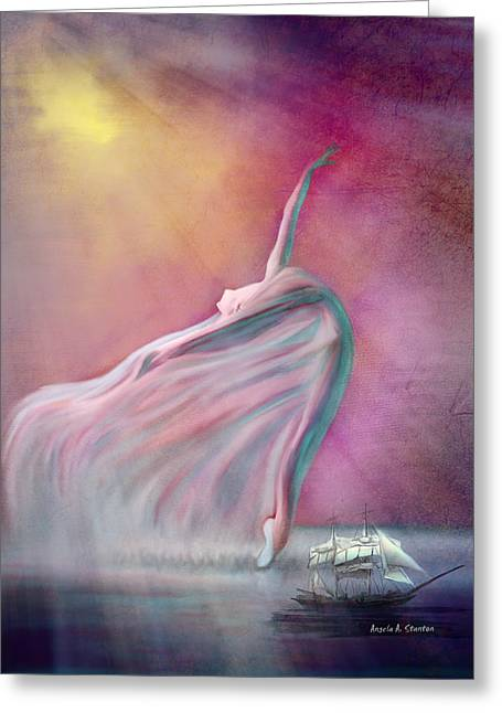Ballet Dancers Greeting Cards - The Wind Fairy Greeting Card by Angela A Stanton
