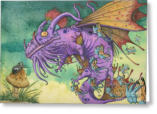 Dragon Greeting Cards - The Wind Whispered Salamanka...And They Came Greeting Card by Fian Arroyo