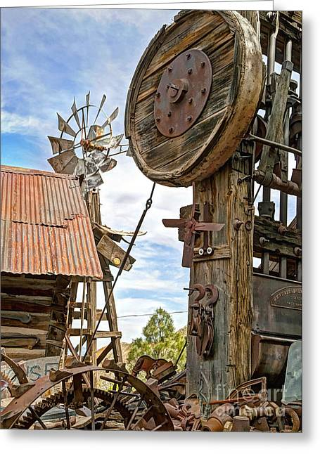 Mining Photos Greeting Cards - Jerome - The Windmill and Press Greeting Card by Leanne Howie