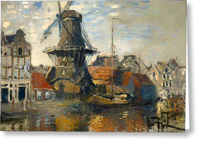 Historic Ship Greeting Cards - The Windmill on the Canal in Amsterdam Greeting Card by Claude Monet