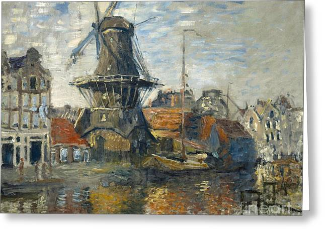 Vintage Painter Greeting Cards - The Windmill on the Onbekende Gracht Amsterdam Greeting Card by Claude Monet