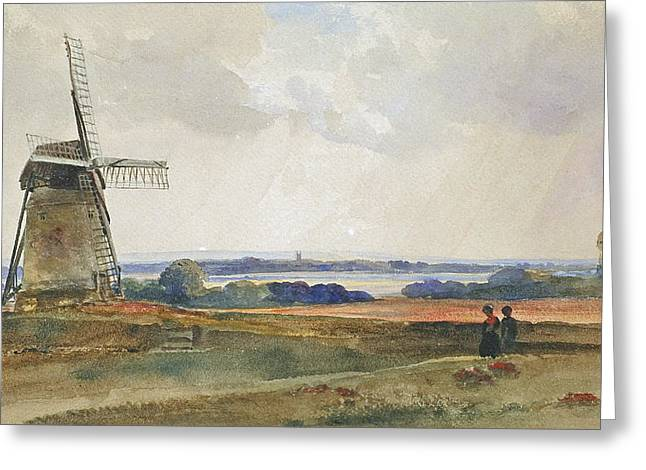 Romanticism Greeting Cards - The Windmill Greeting Card by Peter de Wint