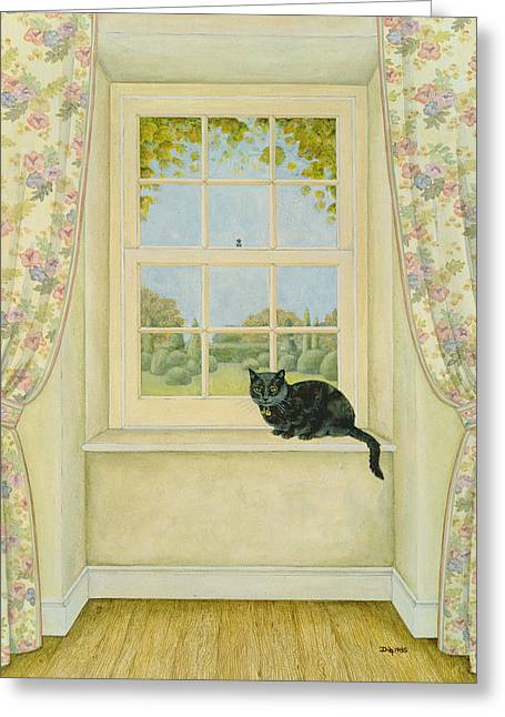 Net Greeting Cards - The Window Cat Greeting Card by Ditz