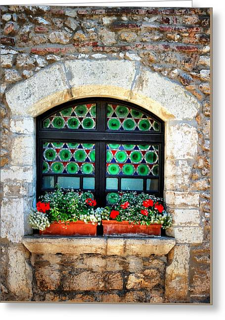 Flower Boxes Greeting Cards - The Window Glass France Greeting Card by Tom Prendergast