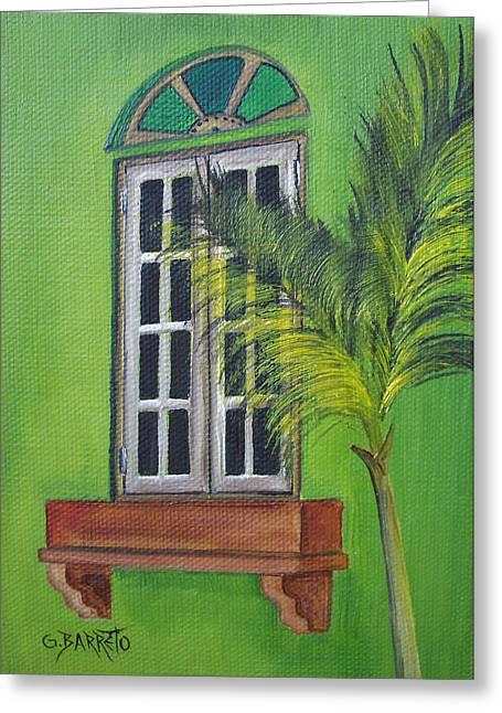 The Window Greeting Card by Gloria E Barreto-Rodriguez