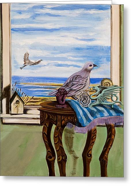 Chess Piece Paintings Greeting Cards - The window has a view Greeting Card by Susan Culver