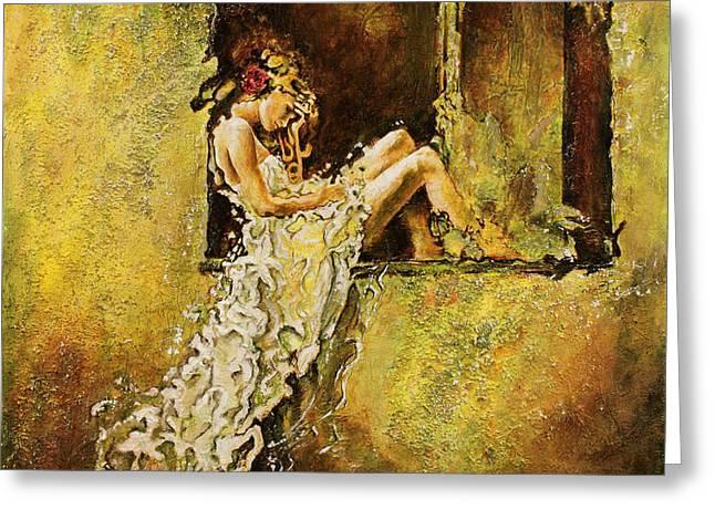 The Window Greeting Card by Karina Llergo Salto
