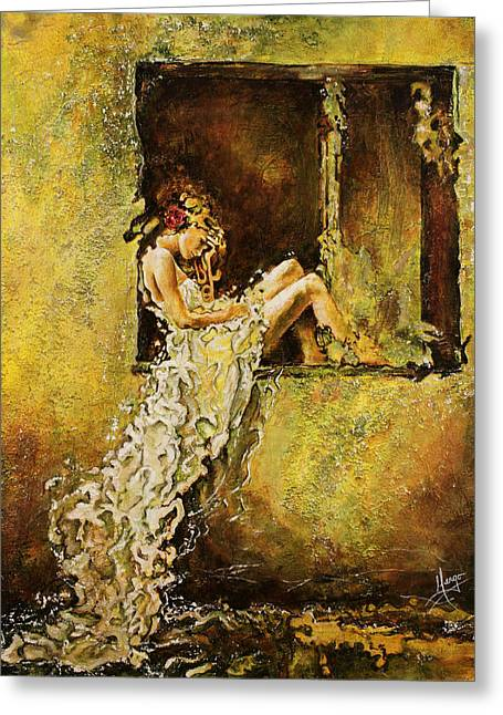 Pondering Paintings Greeting Cards - The Window Greeting Card by Karina Llergo Salto