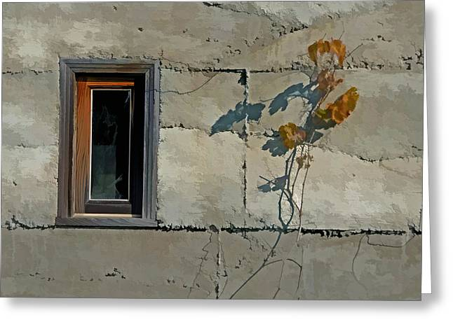 Vine Leaves Mixed Media Greeting Cards - The Window Greeting Card by Linda Muir