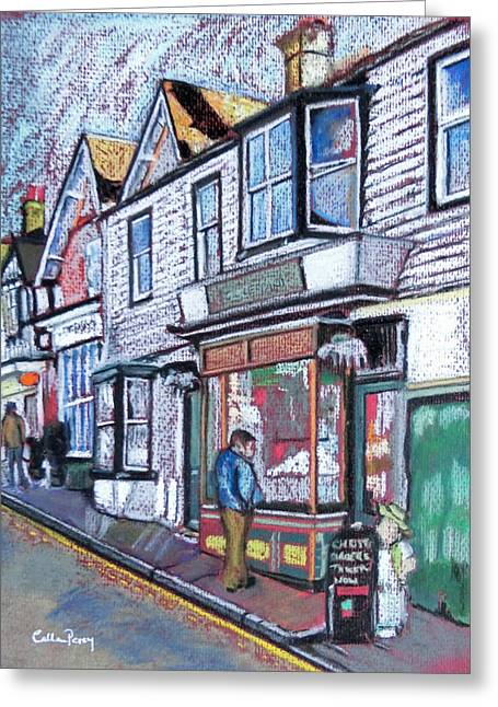 Old Street Pastels Greeting Cards - The Window Shopper Greeting Card by Callan Percy