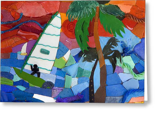 Collecting Debris Greeting Cards - The Windsurfer Greeting Card by Nicola Scott-Taylor