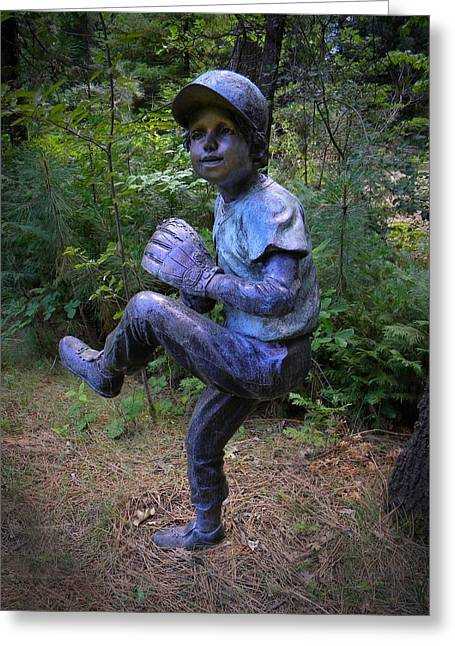 Garden Statuary Greeting Cards - The Windup Greeting Card by Frank Wilson