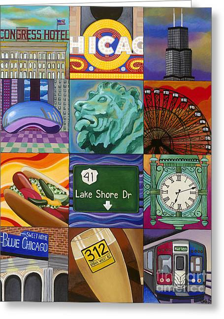 The Bean Greeting Cards - The Windy City Greeting Card by Carla Bank