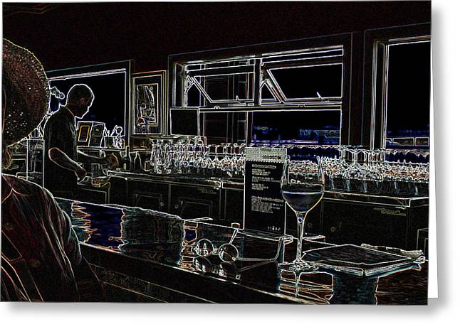 The Wine Bar Greeting Card by Connie Fox