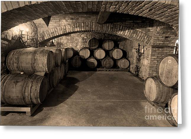 Wine Country. Greeting Cards - The Wine Cave Greeting Card by Jon Neidert