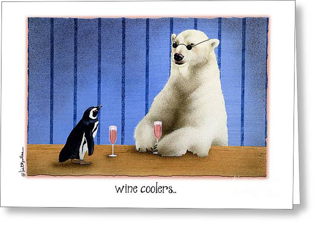 Humorous Greeting Cards Paintings Greeting Cards - The Wine Coolers... Greeting Card by Will Bullas