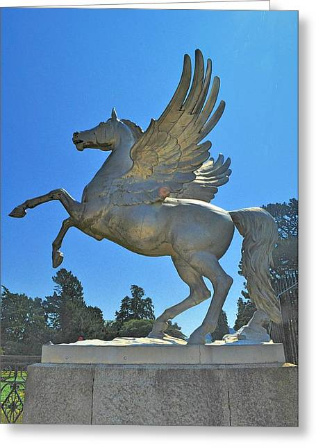 Winged Sculptures Greeting Cards - The Winged Horse Greeting Card by Barry Lennon