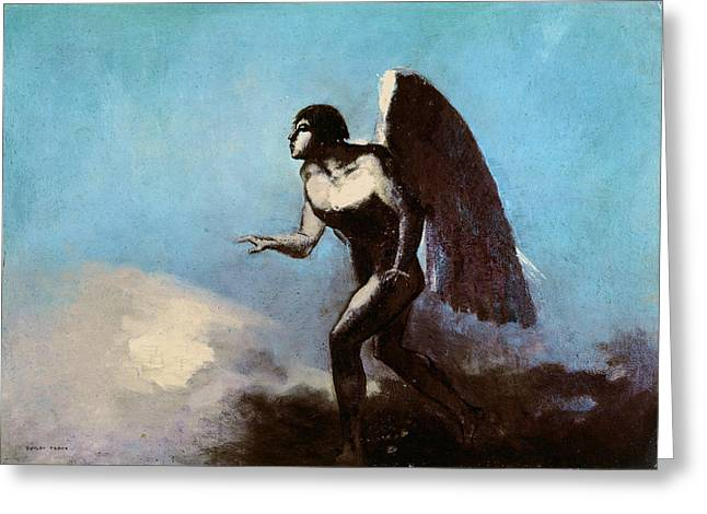 Old Testament Greeting Cards - The Winged Man Or, Fallen Angel, Before 1880 Oil On Cardboard Greeting Card by Odilon Redon
