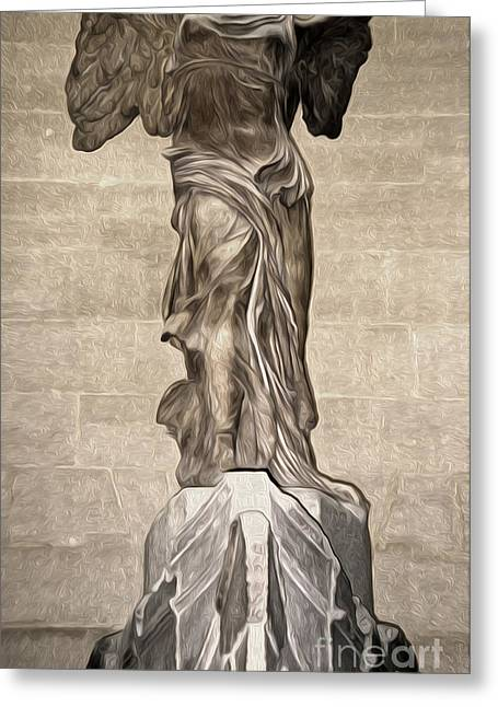 """winged Victory"" Greeting Cards - The Winged Victory of Samothrace marble sculpture of the Greek goddess Nike Victory Greeting Card by Gregory Dyer"