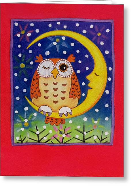 Man In The Moon Greeting Cards - The Winking Owl, 1997 Pastel On Paper Greeting Card by Cathy Baxter