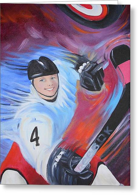 Hockey Paintings Greeting Cards - The Winning Point Greeting Card by Susan Galassi