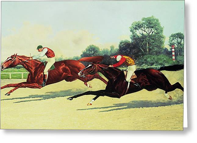 Crops Paintings Greeting Cards - The Winning Post in Sight Greeting Card by Henry Stull