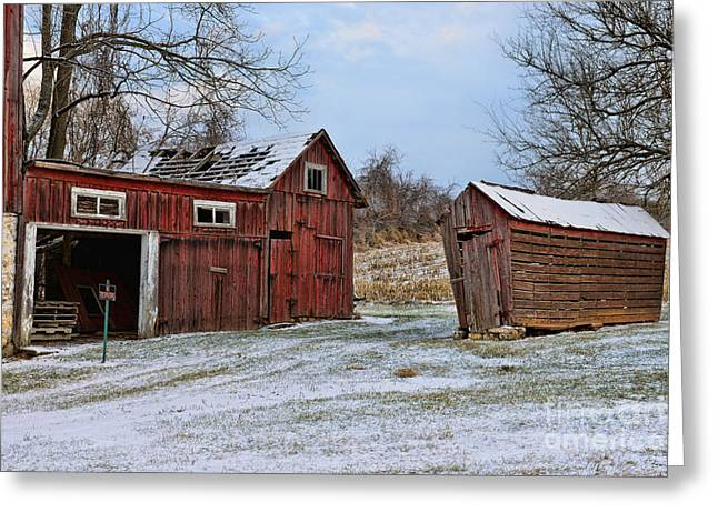 Snow On Barn Greeting Cards - The Winter Barn Greeting Card by Paul Ward