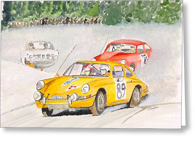 Rally Drawings Greeting Cards - The Winter Rally Greeting Card by Eva Ason