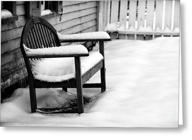 East Jersey Olde Towne Village Greeting Cards - The Winters Bench Greeting Card by John Rizzuto