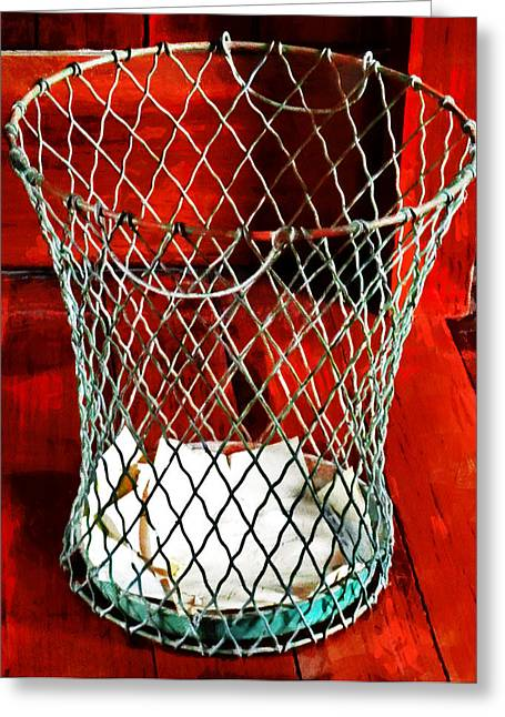 Wire Handle Greeting Cards - The Wire Waste Basket Greeting Card by Steve Taylor