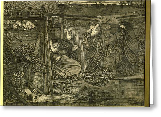 Maidens Greeting Cards - The Wise And Foolish Virgins Etching Greeting Card by Sir Edward Coley Burne-Jones